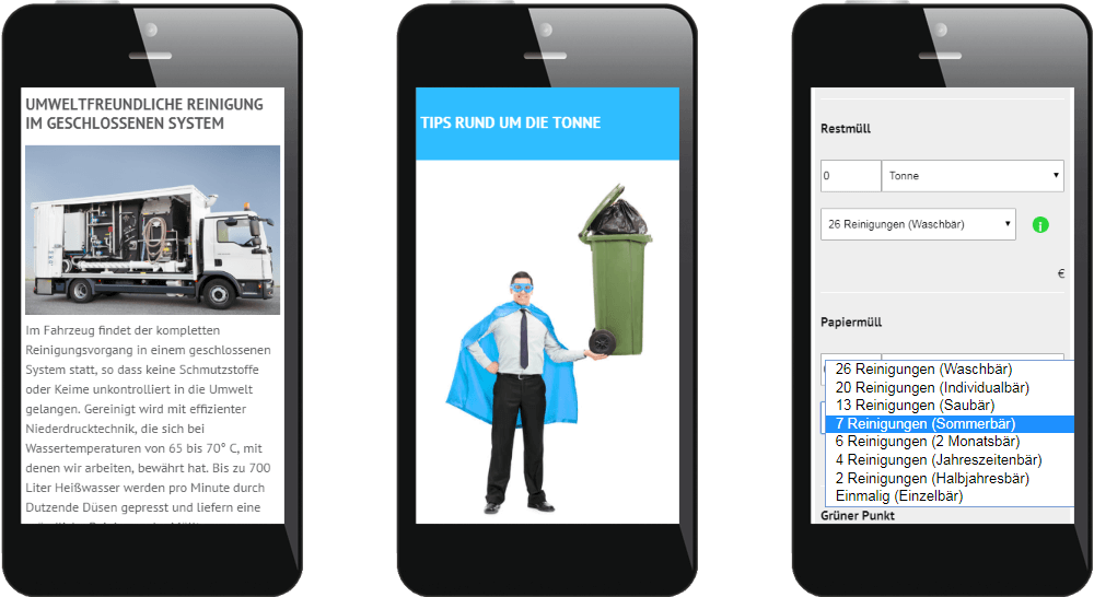Startseite der Mülltonnenreinigungswebsite