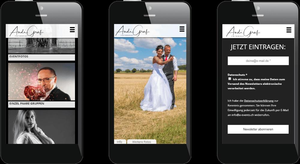 Mobile Darstellung der Fotografen-Homepage