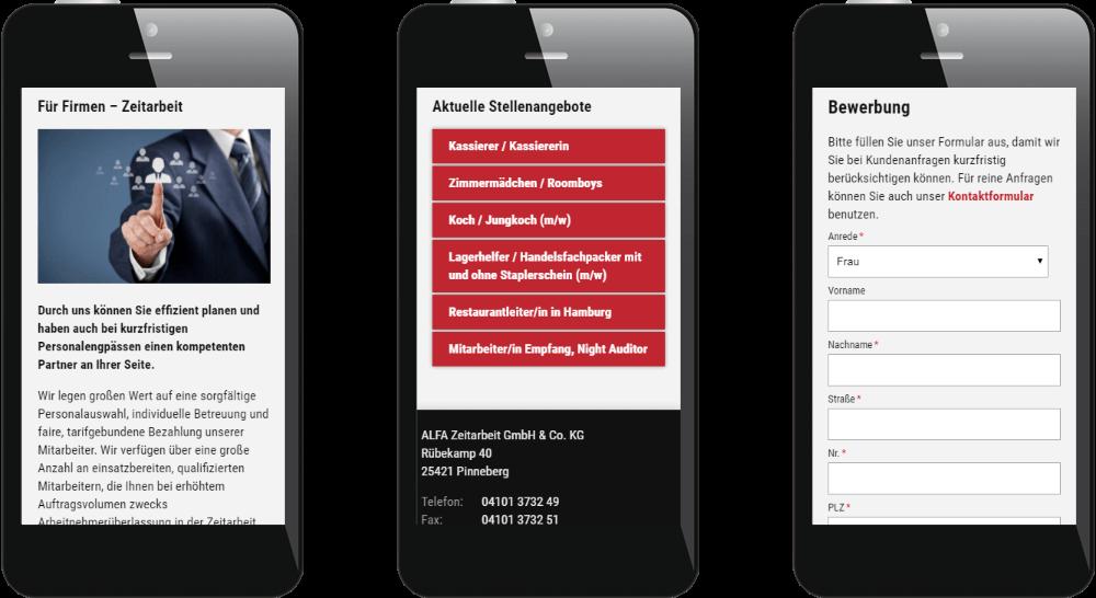 Mobile Websites für Zeitrarbeits-Firmen