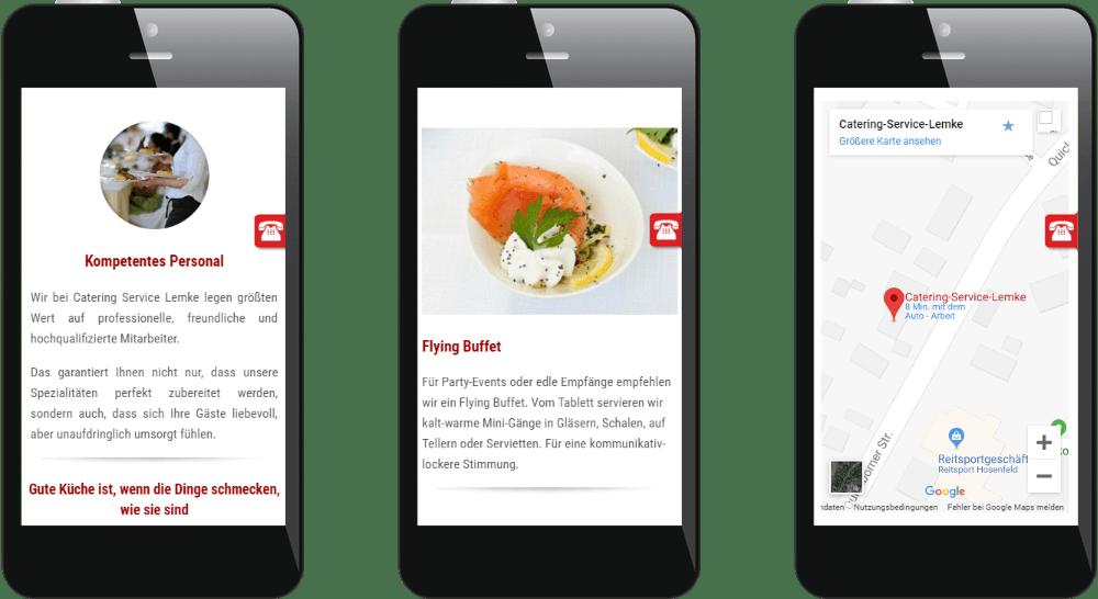 Mobiles Webdesign der Catering-Firma