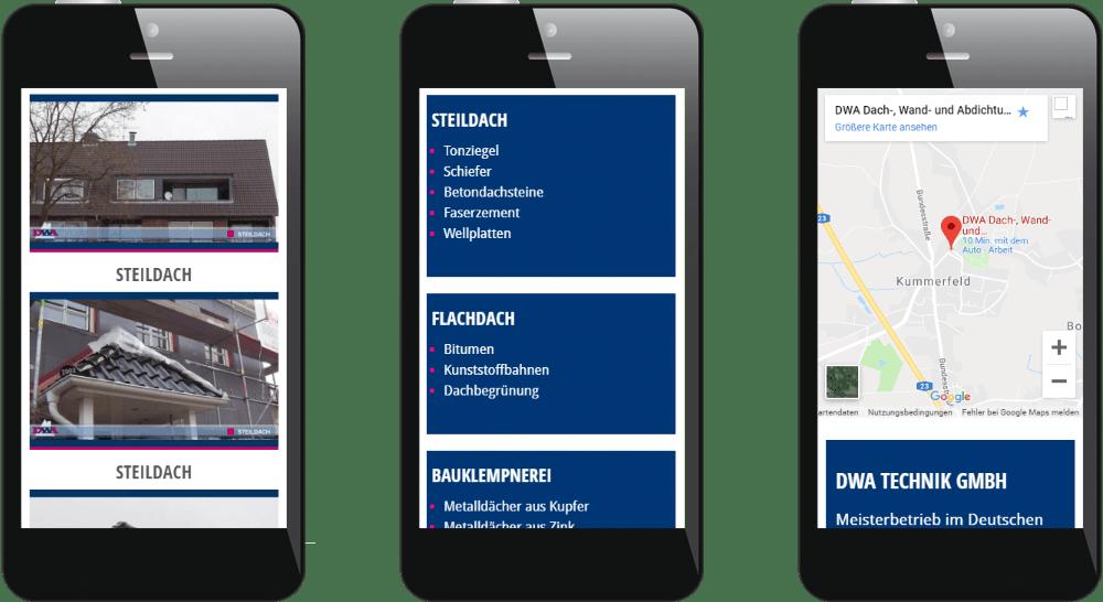 Dachdecker-Webdesign für Smartphone und Tablet