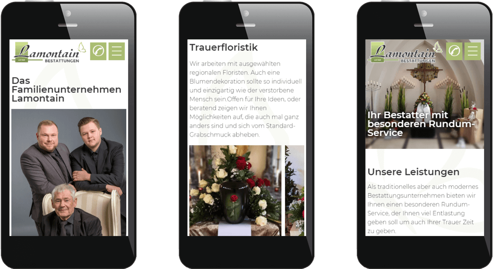 Mobile Website-Darstellung der Bestattungs-Homepage
