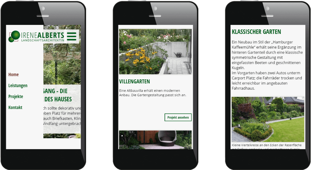 Mobilansicht der Architekten-Homepage mit Portfolio