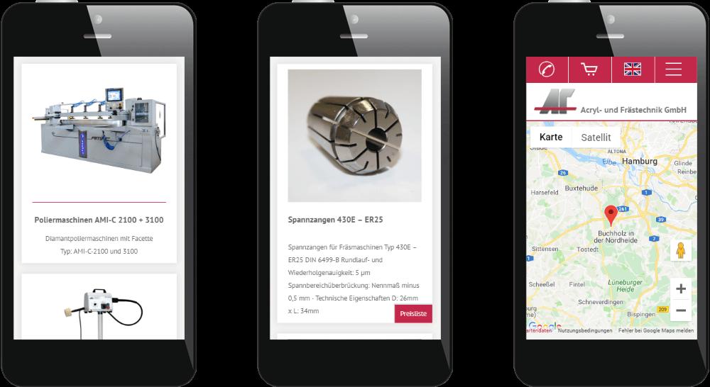 Mobiles Webdesign der Maschinenbau-Website