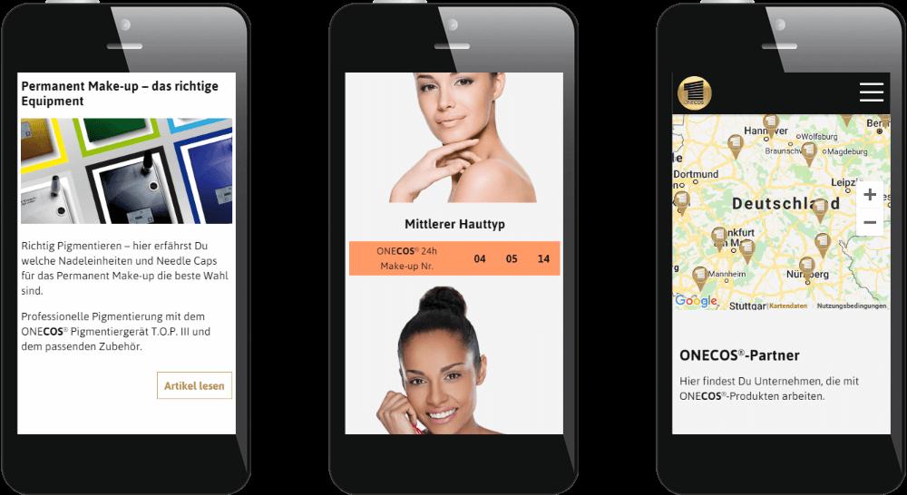 Mobile Ansicht - die Inhalte der Website passen sich optimal an den Bildschirm an