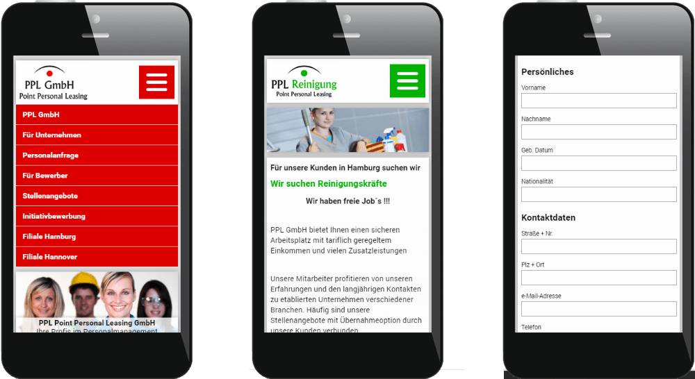 Mobiles Webdesign der Personal Leasing Homepage