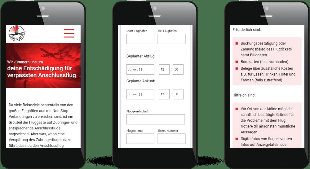 Darstellung der Website auf mobilen Geräten - optimal durch Responsive Webdesign.