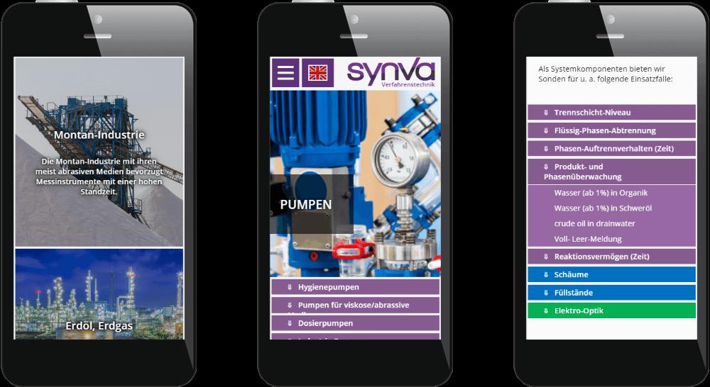 Smartphone-Ansicht - Webdesign mit ausfahrbaren Tabellen