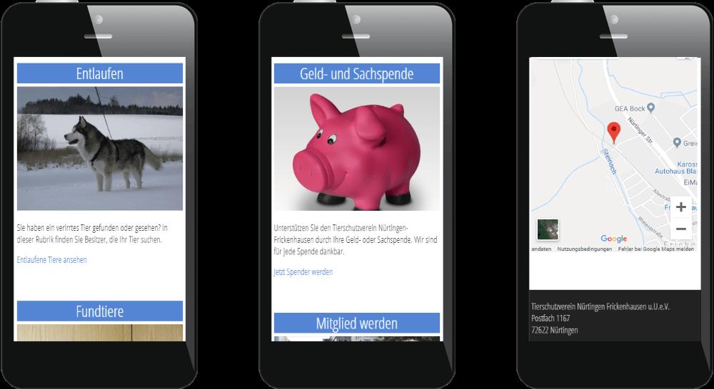Webdesign in Mobilansicht - Tierschutz Nürtingen