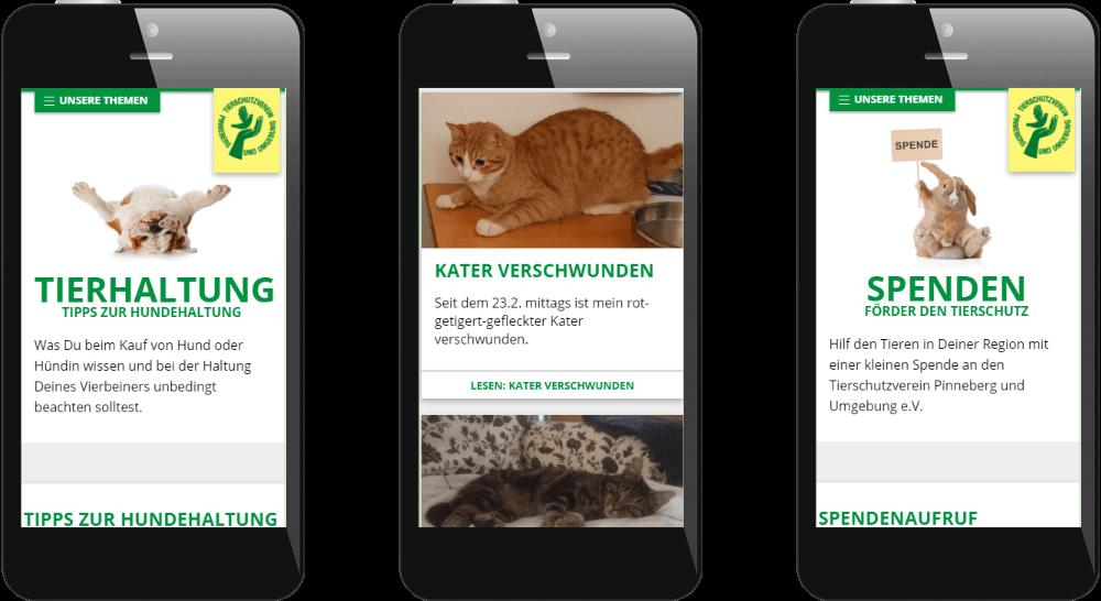 Tierschutz-Website auf Smartphones