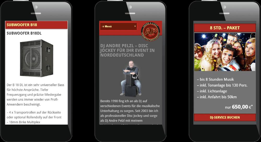 Mobil optimiertes Webdesign - Veranstaltungsservice