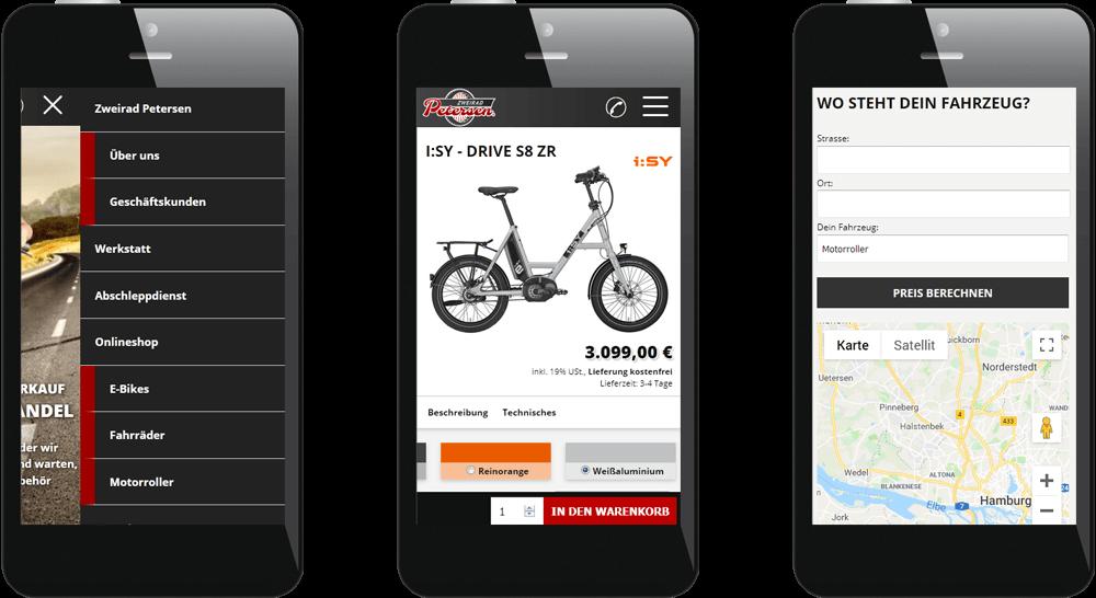Darstellung von Mobil-Navigation, Shop-Produkt und Abschlepp-Rechner auf dem Smartphone