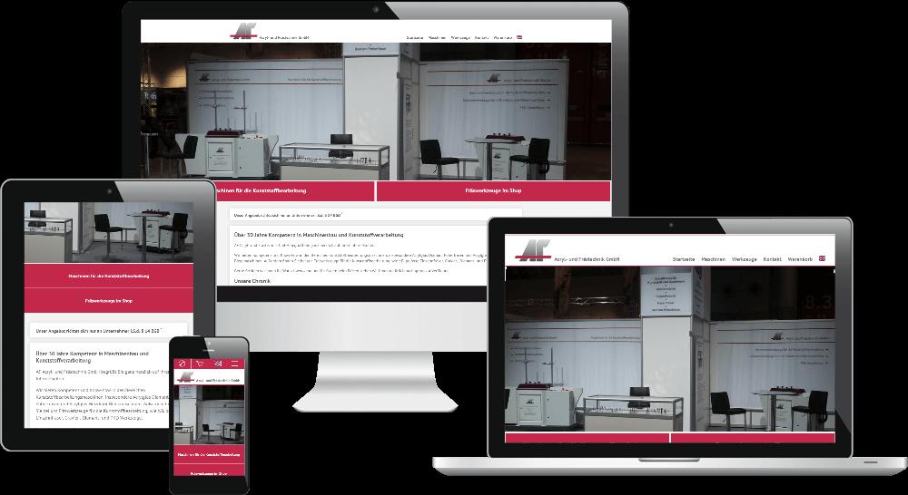 Maschinenbau-Homepage mit Onlineshop