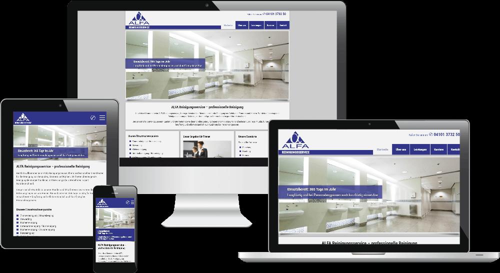 Website Reinigungsserve als Responsive Webdesign