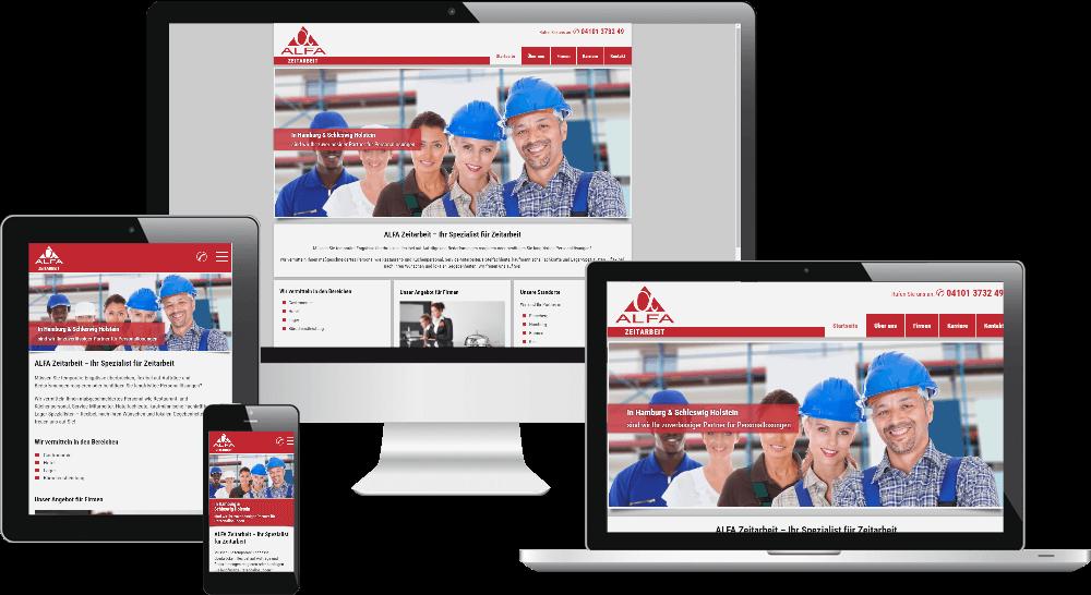 Die Website der Zeitarbeit-Firma als Responsive Websign