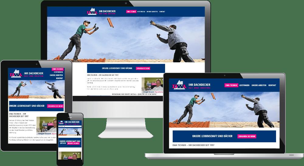 Responsive Webdesign - Dachdecker-Website in verschiedenen Medien
