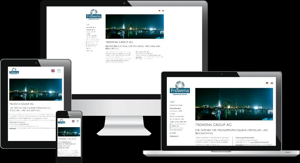 Das Responsive Webdesign der Engineering-Firma auf verschiedenen Bildschirmen
