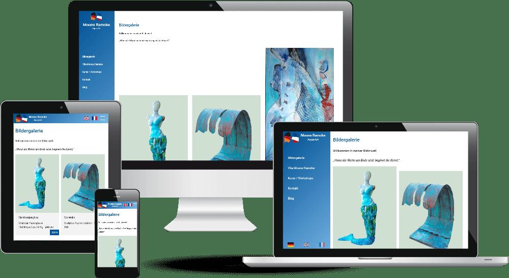 Künstler-Webdesign mit Bilder-Galerie auf der Startseite