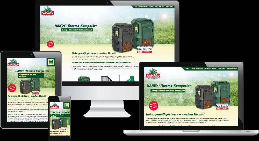 Mobiloptimierte Ansicht der Gartenprodukte-Website