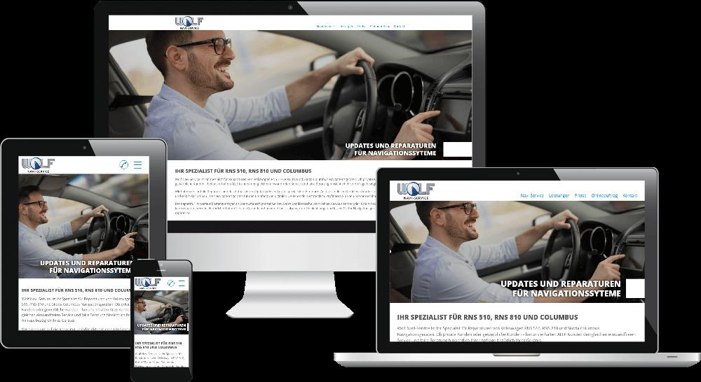Dienstleister-Website auf PC, Laptop, Tablet und Smartphone