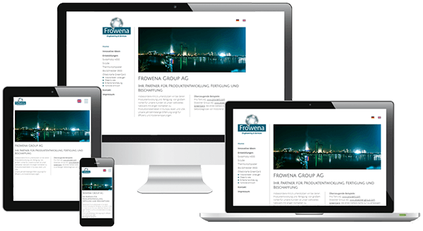 Responsive Webdesign der Engineering-Firma auf verschiedenen Screens
