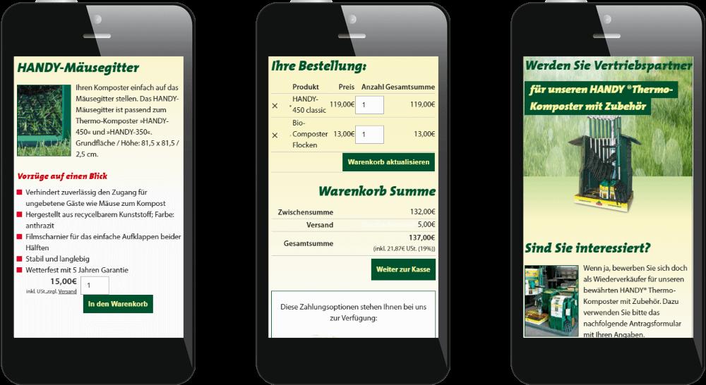 Stoeckler-Garten-Website - Darstellung des Webdesigns auf dem Smartphone