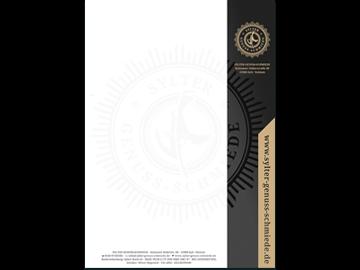 Briefpapier mit Logo, Wasserzeichen und Druck mit Sonderfarbe Gold