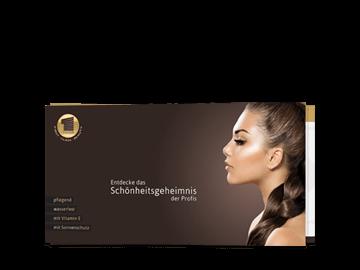 Faltflyer im Querformat für Kosmetik-Produkte