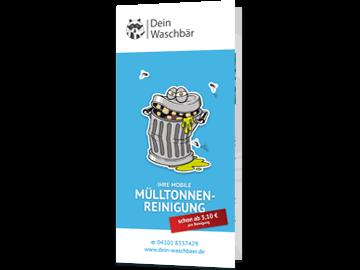 6-teiliger Werbeflyer im Format DIN lang für Mülltonnenreinigung