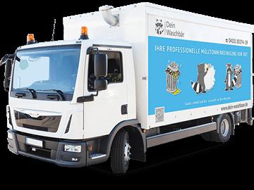 LKW-Werbeplane für Mülltonnenreinigung