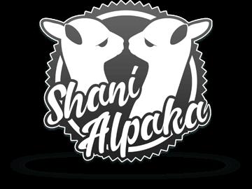 Logodesign - einfarbiges Emblem mit Alpaka-Silhouetten
