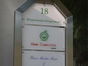 Firmenschild Acrylglas mit Edelstahl - Computerservice Buchholz