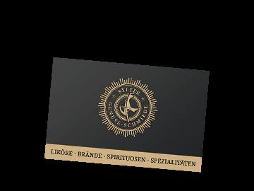 Visitenkarte für Sylter Genuss-Schmiede mit Sonderfarbe Gold