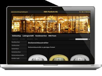 Onlineshop mit Webdesign - Leuchtenhandel Hamburg