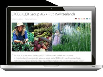 Mehrsprachige Website Stoeckler Group AG Schweiz