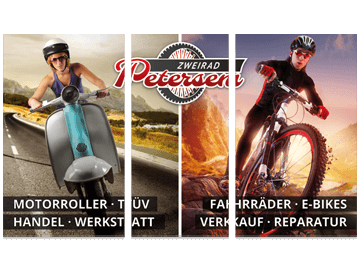 Dreiteiliges Werbeschild für Zweirad-Mechaniker