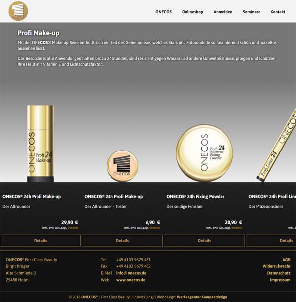 Shop-Seite des Kosmetik-Herstellers