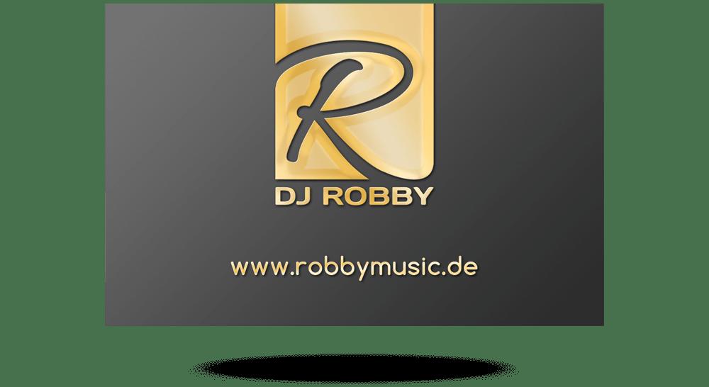 DJ-Visitenkarte dunkel mit Logo in Gold-Optik