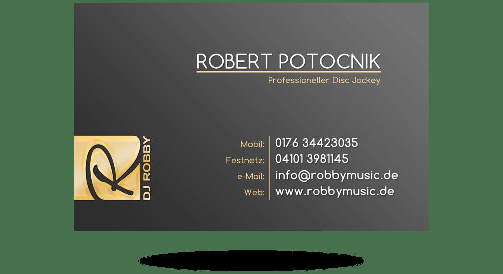 Schwarz-graue Visitenkarte mit Schrift in Goldoptik und weiß