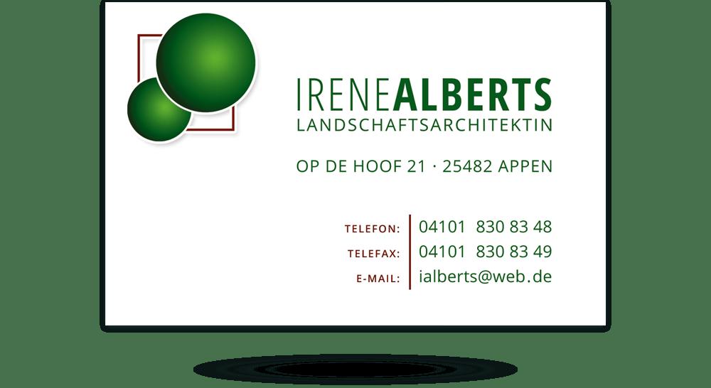 Rückseite der Visitenkarte mit Kontaktdaten der Landschaftsarchitektin