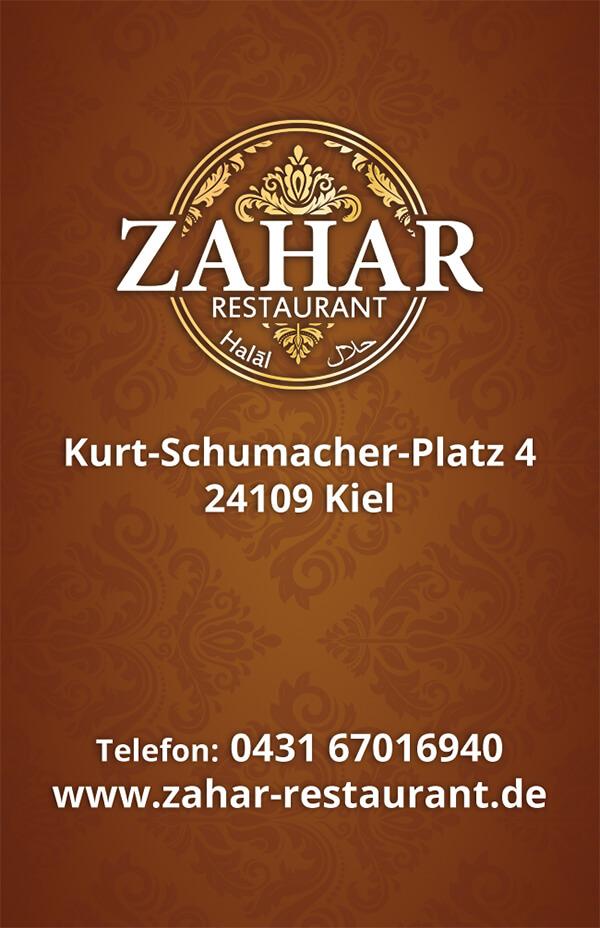 Visitenkarte für orientalisches Restaurant
