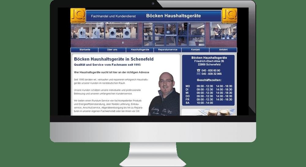 Webdesign - Homepage Haushaltsgeräte Böcken Schenefeld