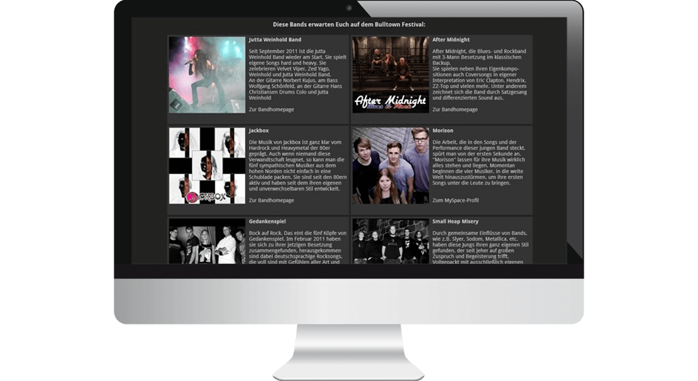 Band-Liste des Festivals - Desktop Webdesign