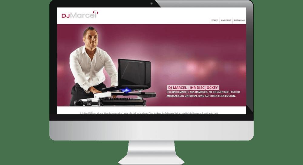 Mobiloptimierte Homepage von DJ Marcel aus Hamburg