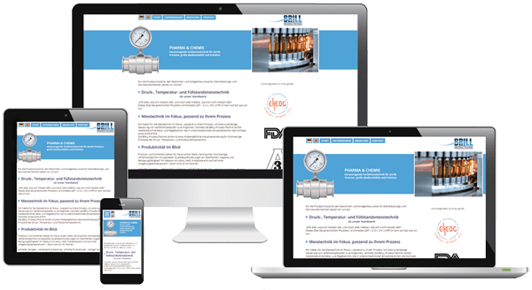 Darstellung des Responsive Webdesign der Industrievertretungs-Website