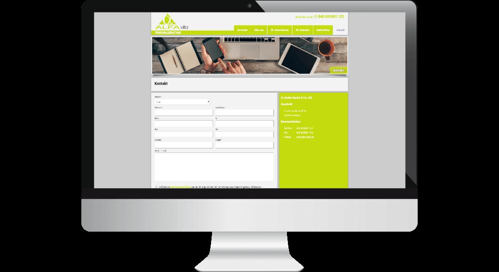 Webdesign - Kontaktformular der Personalvermittlung