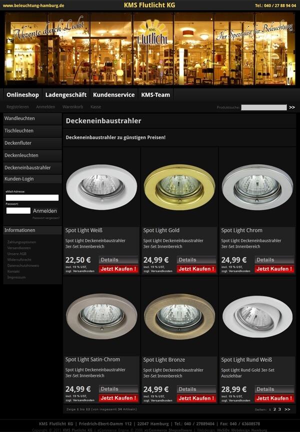 Onlineshop mit individuellen Template - Leuchten-Fachhandel