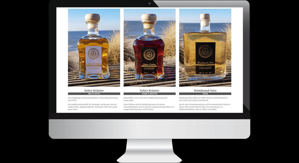 Produktpalette auf der Website - Webdesign-Darstellung im Desktop-Bereich