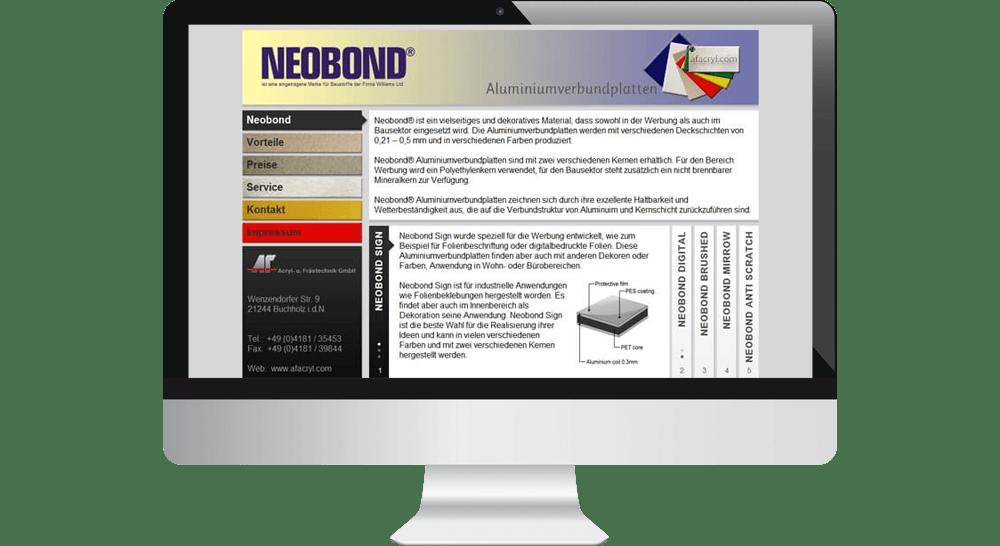 Website Neobond24 - Aluverbundplatten Werbetechnik