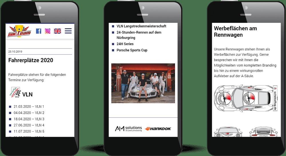 Mobile Ansicht der Rennteam-Website in Smartphone-Darstellung
